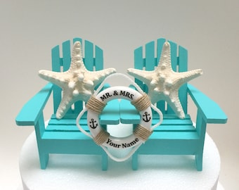 Beach Adirondack Chair Wedding Cake Topper, Starfish Wedding Cake, Chair Cake Toppers,Nautical Wedding Chairs, Bahama Blue