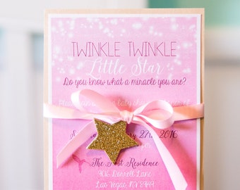 Twinkle Little Star - Baby Girl Shower Invitation