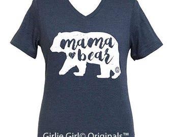 Girlie Girl Originals Mama Bear Heather Navy V-Neck Short Sleeve T-Shirt
