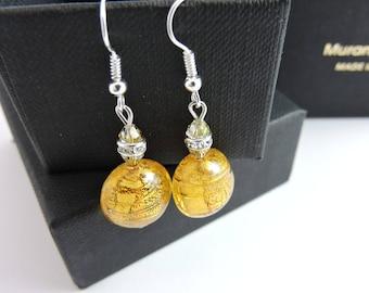 Earrings, Glass, rhinestones and Murano glass, Murano glass Earrings with crystal elements and silver leaf