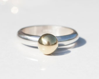 Gold and Silver Ring, Gold Orb Ring, Gold Ball Ring, Gold Nugget Ring, Gold Ring, Chunky Gold Ring