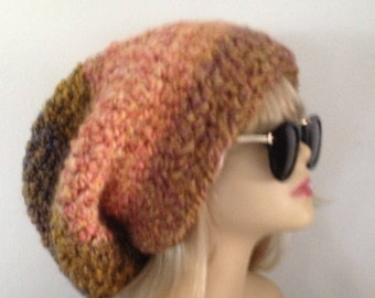 Slouchy Adult Hat Crochet Rasta  Fits Almost All Very Soft