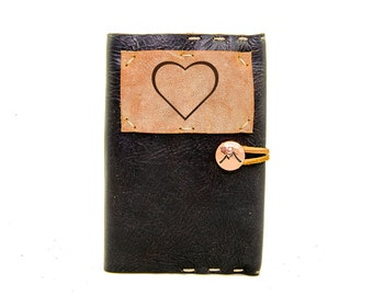 Small Leather Journal with Heart in Midnight Espresso