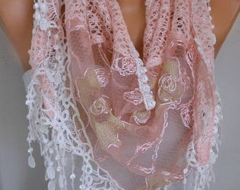 Light Salmon Filet & Lace Scarf,Wedding Shawl Bridesmaid Gift Gift Ideas For Her Women's Fashion Accessories