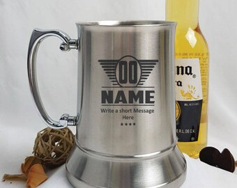 Birthday Engraved Stainless Steel Stein - Male Design