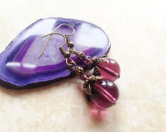 FREE SHIPPING! Vintage inspired brass earrings with petals and reused purple glass pearls, vintage and nature inspired jewelry, Selma Dreams