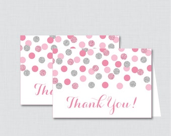 Printable Pink and Gray Thank You Card - Printable Instant Download - Pink and Silver Baby Shower Thank You Card, Silver Glitter - 0023-P