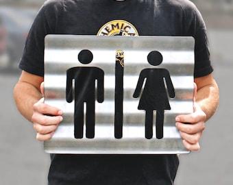 Unisex Bathroom Sign Corrugated Plasma Cut Steel Restroom Sign Rustic Metal Sign Restaurant Home Shop Wall Bathroom Sign Restroom Sign