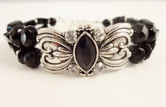 Black Onyx and Silver Two Strand Bracelet