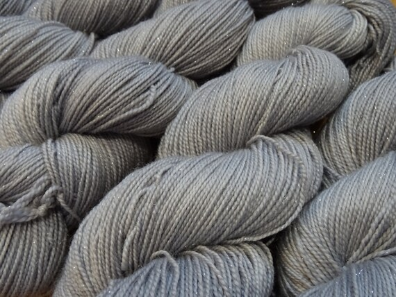 A Nice Silver, soft sparkle merino nylon blend sock yarn