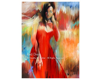 Abstract Figure Fine Art Paper Print • Abstract Figure Art • Modern Figure Painting Reproduction • RED DRESS • Contemporary Figurative Art