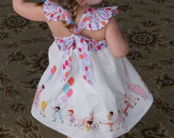 The MAISE B I R T H D A Y  Dress in Sarah Jane Children at Play Fabric; Flutter sleeve; Tie Bow Back
