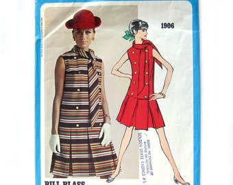 1960s Vintage Vogue Americana 1906 - Bill Blass - Mod DRESS / Box Pleat Skirt / Scarf Collar - Designer Fashion Dress / UNCUT FF / Size 12B