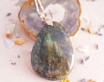 Labradorite Silver Necklace - Labradorite Necklace - Wicca Necklace - Gemstone Necklace - Boho Necklace