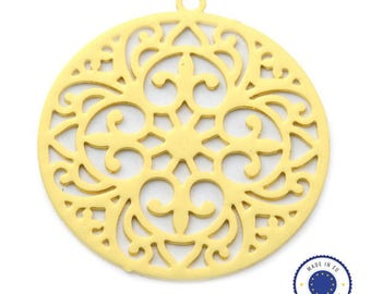 1 x pendant filigree round 30mm - made in Europe - gold