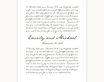 Wedding Vows Art Print, Custom Personalized gift, 1st anniversary, handwritten font giclee