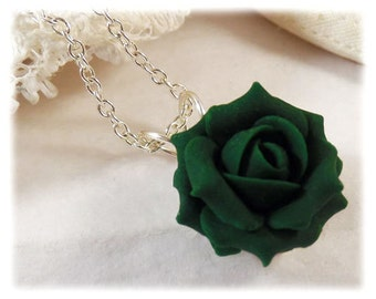Dainty Green Rose Necklace - Green Rose Jewelry, Green Flower Necklace
