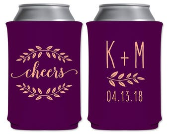Neoprene Beer Can Holders Collapsible Coolers Custom Beverage Insulator Personalized Huggies Wedding Favors | Cheers (4A) | READ DESCRIPTION