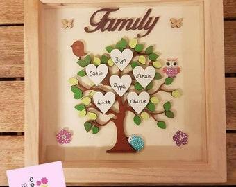 Mum Gift Mum Frame Family tree Frame Family picture Gift Home decor Family decor Personalised hearts Parent gift Grandparent Family Keepsake
