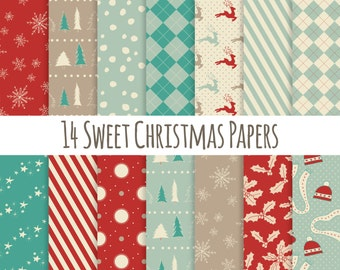 Christmas Paper Pack // Digital Paper // Stars Argyle Candy Stripe Holly Pine Trees // Red Green Tan Ivory // Instant Download // 12x12