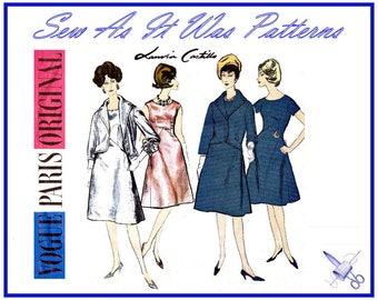 "1960s Vogue Paris Original 1133 Lanvin Castillo Flared Skirt Dress Shawl Collar Short Jacket Vintage Sewing Pattern Size 12 Bust 32"" 83cm"