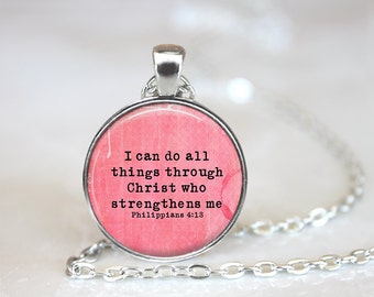 Bible Verse Jewelry Bible Necklace Bible Jewelry Philippians 4:13 Bible Verse Inspirational Jewelry Inspirational Necklace Scripture Jewelry