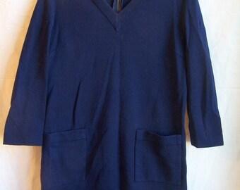 "Marchesa di Greisy cobalt blue wool dress, c. 1960, from I. Magnin, 40"" chest"
