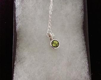 Silver Peridot Pendant Necklace, Handmade Minimalist Gemstone Necklace