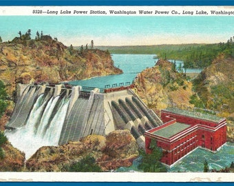 Vintage  Linen Postcard - Long Lake Power Station and Dam at Long Lake, Washington  (2433)