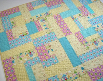 """Pastel Baby Quilt, Spring Easter Quilted Throw, Yellow Blue Pink Scrappy Lap Quilt, 40"""" x 50"""", Quiltsy Handmade"""