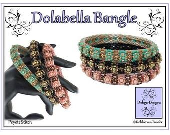 Beading Pattern, Tutorial, Double Peyote, Bangle - DOLABELLA