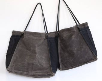 special - FARMERS MARKET TOTE - espresso waxed canvas with black side pocket - ships today