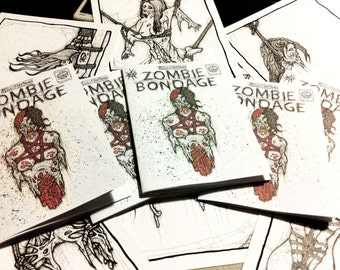 zombie bondage art book/ erotic zombie zine/ bdsm drawings
