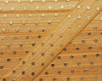 5/8 OLD GOLD with Gold Foil Polka Dot Fold Over Elastic
