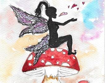 FAIRY on mushroom, print, map watercolor print paper 10 cm 15 cm, wall decor, girl, birthday stationery