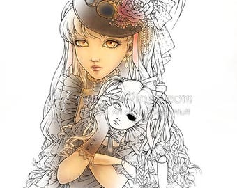 Digital Stamp - Instant Download - Steampunk Girl w/ Doll - digistamp - Fantasy Line Art for Cards & Crafts by Mitzi Sato-Wiuff