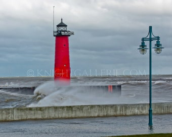 Kenosha Wisconsin Lighthouse portrait: Stormy November Day