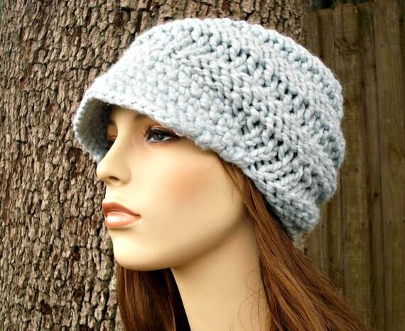 Knit Hat Blue Womens Hat Blue Newsboy Hat - Swirl Beanie with Visor in Glacier Blue Knit Hat - Blue Hat Blue Beanie Womens Accessories