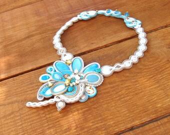 Turquoise Bridal Necklace, Handmade Soutache Necklace Choker, Beige Gold and Turquoise, Bridal Jewelry, Soutache Jewelry