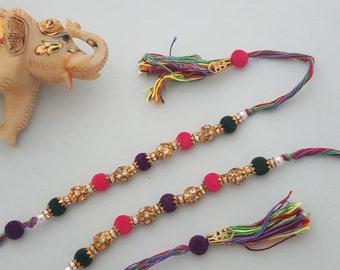 Adyah 2pcs Colorful Handmade Rakhi Threads for Brothers. Wrist bands for siblings on Rakshabandan.