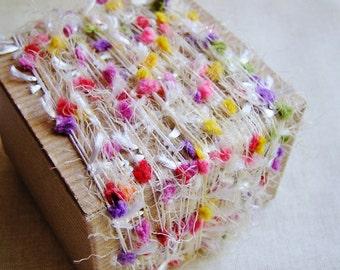 Fruit Taffy Tassel Pom Fringe Garland - wedding party craft supply, scrapbook embellishment, specialty gift wrap, novelty trim- 5 yds