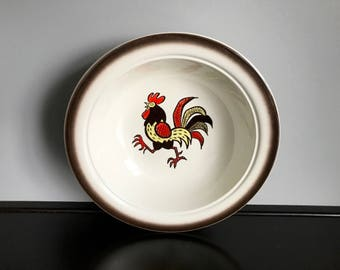"""Metlox Poppytrail Red Rooster 10"""" Round Vegetable Serving Bowl"""