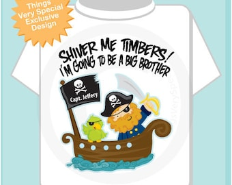 Pirate Big Brother Shirt - I'm Going To Be A Big Brother Pirate Shirt Personalized Pirate Shirt or Onesie with Your Child's Name 08272011b