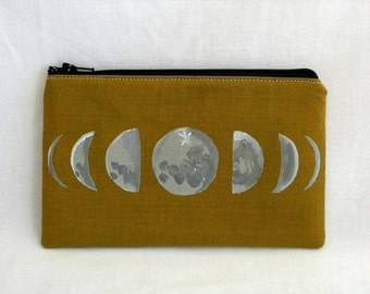 Moon Phases- Lunar - Zippered Pouch