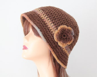 Crocheted Hat Brown Cloche Style Hat