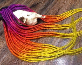 SUNSET SET ombre - 4color transition in each dread -Single OR Double Ended Synthetic Dreadlocks Extensions. Violet, pink, orange, yellow