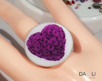 "Ring ""Heart of roses"" violet."