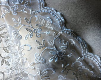 SALE Ivory Lace Fabric  #2 Embroidered & Appliqued for Bridal, Regency Gowns, Shrugs, Shawls
