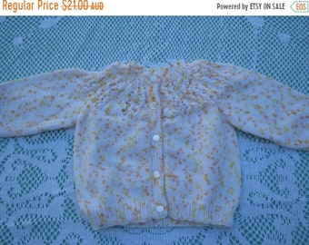 ON SALE Vintage Gorgeous Lemon and Orange Speckled Cardigan Hand Knitted for a Girl Aged around 1 years.
