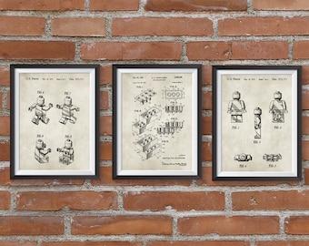 Lego art etsy set of 3 lego patent posterslego patent printablelego toyslego posterkids roomkids wall art nursery decor digital download blueprint malvernweather Images